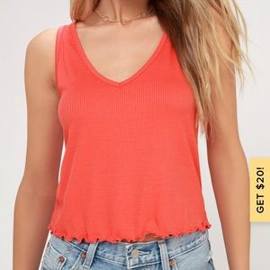 Abaco Coral Orange Ribbed Cropped Tank Top